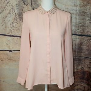 H&M Pink Studded Collar Blouse